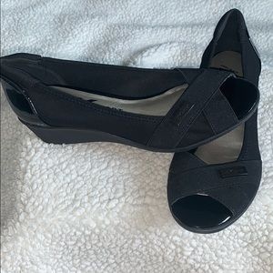 Anne Klein Sport peep toe black wedges-never worn